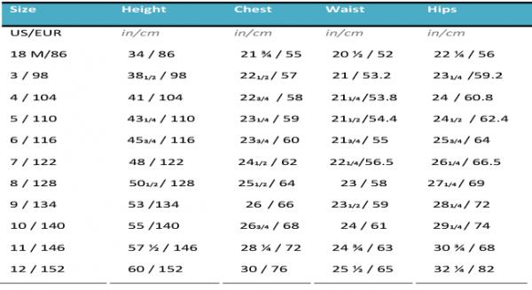 girls size chart sewing